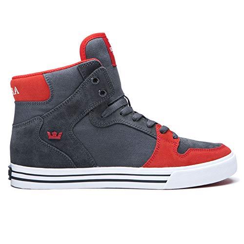Supra Men's Vaider Hi Top Sneaker Shoes Dk Gray Red 8 (Red Top Hi Supras)