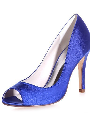 ShangYi Damenschuhe - Sandalen - Hochzeit / Lässig / Party & Festivität - Satin - Stöckelabsatz - Zehenfrei -Schwarz / Blau / Rot / Elfenbein / Blue