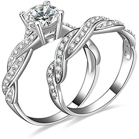 (Personalizzati Anelli)Adisaer Anelli Donna Argento 925 Anello Fidanzamento Incisione Gratuita Torsione Anello Diamante Set di