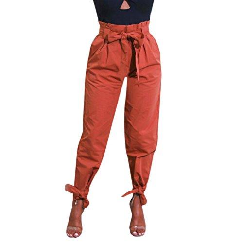 Damen Hose, Frauen Mode Beiläufige High Waist Slim Fit Einfarbig Cargohose Slim Fit Freizeithose Haremshose Casual Lose Lange Hose Streetwear Outdoorhose (Orange,M)