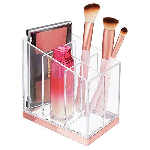 mDesign praktischer Kosmetik Organizer - dekorative Kosmetik Aufbewahrungsbox für Nagellack und Puder - Ablage mit fünf Fächern zur Schminkaufbewahrung - durchsichtig/rotgold