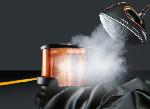 Siemens TS20XTRM2 extremePower - Centro de planchado profesional, 3100 W, 110 g/min, base de titanio), color gris y naranja