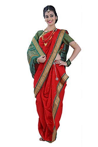 Bhartiya Vastra Bhandar Women's Ready to Wear Nauvari Saree(DNoA11_DiamondRed_Red_FreeSize)