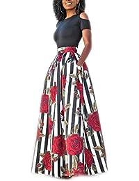 Blansdi Damen Elegant Streifen Sommerkleid Strandkleid Zweiteiler Kleider Sets Rundhals Kurzarm Tops Lang A-linie Rock Blumen Ballkleid Festlich Partykleid
