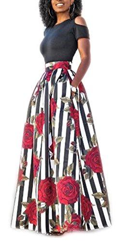 Cookieslove Damen Partykleid Cocktailkleid Elegant Print Zweiteiliges Abendkleid Ballkleider...