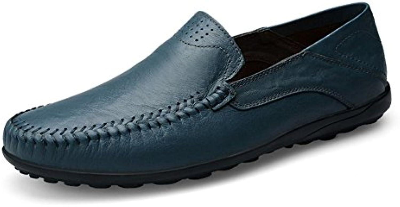 Zapatos De Conducción Cuero Ocasionales De Hombres Azul Zapatos De Barco