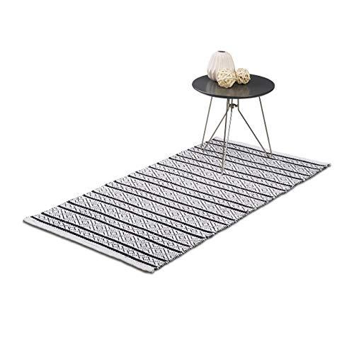 �ufer Flur 70x140 cm, Baumwolle, Handarbeit, Design Küchenläufer Kurzflor, Fußbodenheizung, schwarz-weiß ()