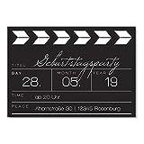 greetinks 10 x Einladungskarten zum Geburtstag (1-99 Jahre) 'Filmklappe' in Weiß | Personalisierte Geburtstagskarten zum selbst gestalten | 10 Stück Geburtstagseinladungen für JEDES Alter