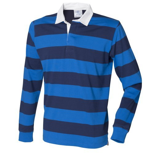 Front Row Herren Rugby Polo-Shirt, gestreift, Langarm (2XL) (Blau/Dunkelblau) (Gestreiftes Rugby-shirt)