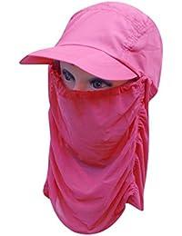 360 ° de protección UV casquillo de Sun, dolida Flap sombrero Hombre Mujeres plegable UPF 50+ Sun Cap adultos extraíble Cuello y la cubierta del casquillo de la aleta de la cara de Pesca Senderismo Jardín de trabajo actividades al aire libre , rose red