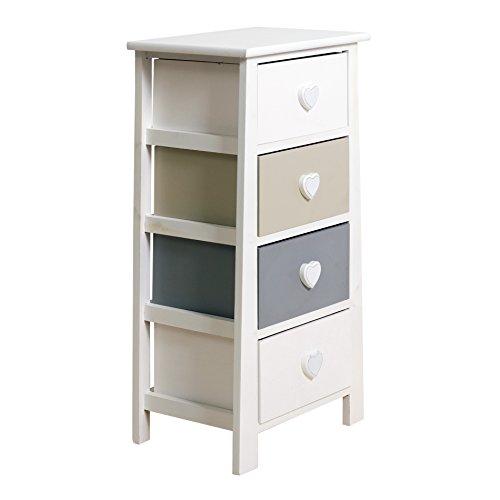 Rebecca mobili cassettiera comodino 4 cassetti legno paulownia mdf bianco grigio beige shabby camera bagno (cod. re4368)