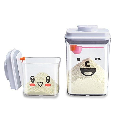 Luftdichte Milchpulver-Spender - BPA-freie Milchpulver-Behälter Tragbare Lebensmittelvorratsbehälter - Milchpulver Trockenfutter für Arthritis-Hand - 2er Pack (AS 1.5L+0.5L)