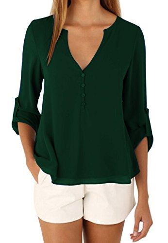 OMZIN Damen Chiffon Oberteile Langarm Tops Casual Loose Shirt Basic Tops V Ausschnitt Blusen Grün S