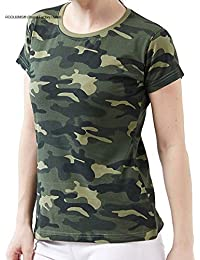 Rooliums® (Brand Factory Outlet - Army Tshirt Women, Cotton Camouflage Print Top
