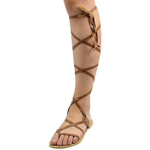 Oasap Women Fashion Strappy Lace Up Gladiator Flat Thong Sandals, Khaki EURO39/US8/UK6
