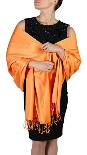 Pashmina Schal Tuch für Frauen - Quastenveredelung - Kostenloser Aufhänger (Über 20 Farben) Handgefertigt (Orange)