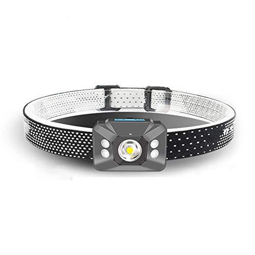 Torcia frontale ricaricabile a LED - Lampada frontale leggera impermeabile super luminosa e confortevole, con rilevamento dei gesti, per corsa, campeggio, pesca, escursionismo, caccia, arrampicata