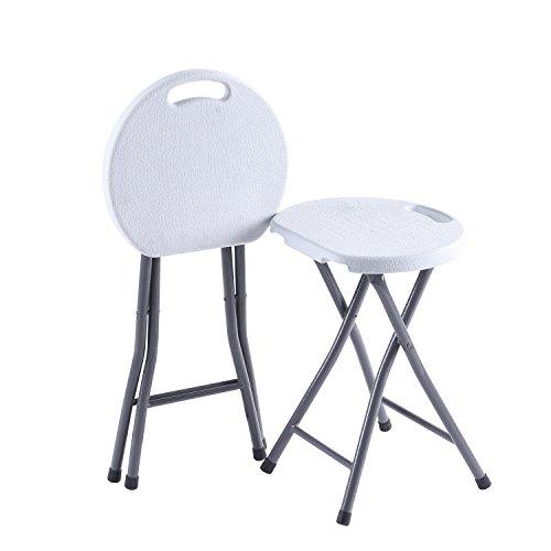 TAVR Furniture Klappbarer Hocker, Zweier-Set, Leichter Metall- und Kunststoff-Klapphocker, 180kg Fassungsvermögen, 2er Pack Weiß, CH1003