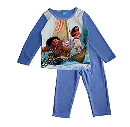 Disney Vaiana Moana Mädchen Polar Fleece Schlafanzug Lang (8 Jahre, Hellblau)
