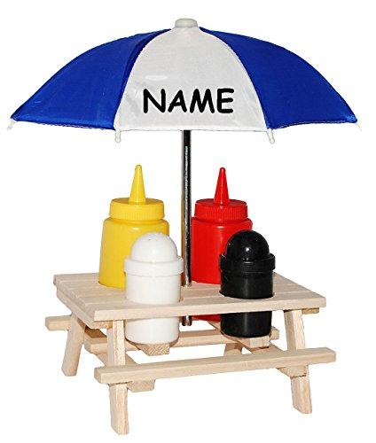 6 tlg. Set: ' Picknick - Tisch incl. Schirm ' - incl. Name - Ketchup, Senf + Salz & Pfefferstreuer - ' Picknicktisch / Gewürzhalter ' - Dosierflasche - Salzstreuer Pfeffer Set -...