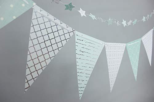 Wimpelkette mit Sternengirlande, Papierbasteln, traumhaftes Babyzimmer, Deko, rosa & mint/grün, deutsche Handarbeit