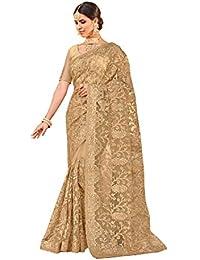 Aarti Apparels Women's Designer Net Saree_PICASSO-1001_Beige