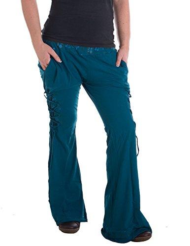 Vishes – Alternative Bekleidung – Hippie Schlaghose aus Baumwolle – mit Bändern und Blumendruck türkis 42 bis 44 (Baumwoll Schlaghose)