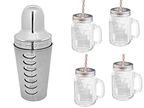 Edelstahl Rezept Cocktail Shaker Bar Set Glas Cocktail, Arcoroc Cocktail Shaker mit 4 Mason Glas trinken Jar & Strohhalme