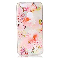For Huawei P10 Lite Case [with Free Screen Protector],KwapoŽ Ultra Slim Transparent Soft TPU Silicone Back Rubber Bumper Clear Creative Pattern Design Flexible Protector Cover Case for Huawei P10 Lite - Peony