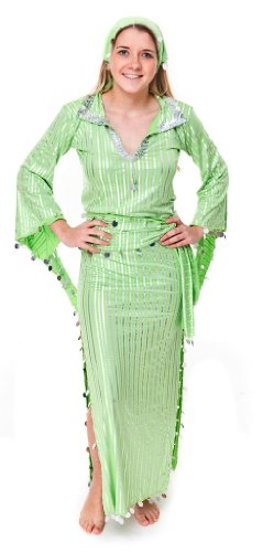 Egyptian Galabeya Dress for Baladi Belly Dance Saidi Abeya Hand Made New (GREEN/SILVER)