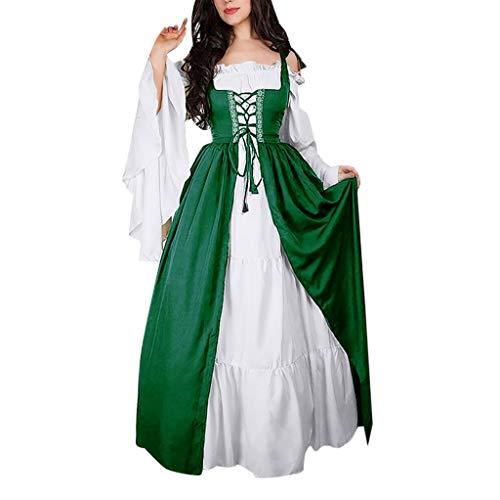 Damen Langarm Mittelalter Kleid Gothic Retro Kleid Renaissance Cosplay Kostüm Prinzessin Kleid Lange Abendkleid Gebunden Taille Maxikleid Übergröße Kleid Weihnachts Karneval Party (Prinzessin Kleider Für Damen)