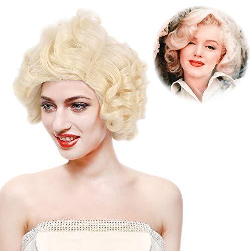 STfantasy Blonde Perücke Marilyn Monroe Lockig gelockt kurz layered sexy wig für Frauen Cosplay Kostüm Karneval Halloween