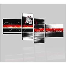 Cuadros Modernos Aceite sobre lienzo pintados a mano negro rojo blanco Aludra
