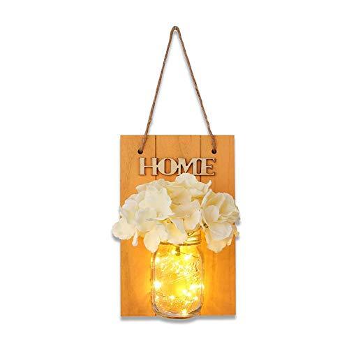 winnerruby Wandleuchte Rustica Mason Jar Sconce Wanddekoration mit LED-Beleuchtung Home Decor Vase LED Strip Design für Haus Garten Schlafzimmer