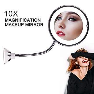 STLOVe LED Espejo de Maquillaje Aumento de 10X con Ventosa & el Cuello de Cisne Flexible Ajustable 360 ° Espejo de Baño