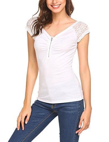 05f57b6a0b58b6 ... Beyove Damen Sexy V-Ausschnitt Wickelshirt Kurzarm Langarm Slim Fit  Shirt Bluse Obertail mit