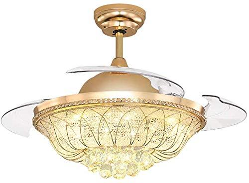 Pulgadas Ventilador de techo con luces Control remoto moderno LED Cristal Lotus Lámpara de techo 4...