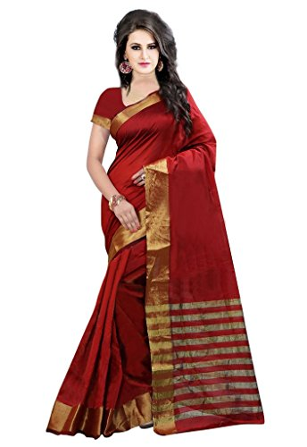 ISHIN Poly Silk Red With Woven Zari Border Women's Saree.  available at amazon for Rs.499
