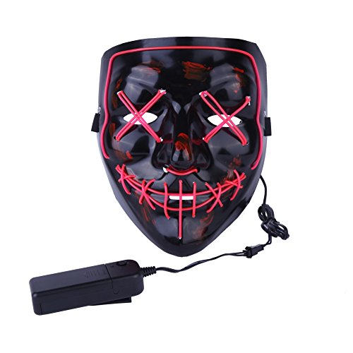 XIYAOHalloween Horror Nahtfaden Maske mit LED-Licht, beängstigendes Gesicht -