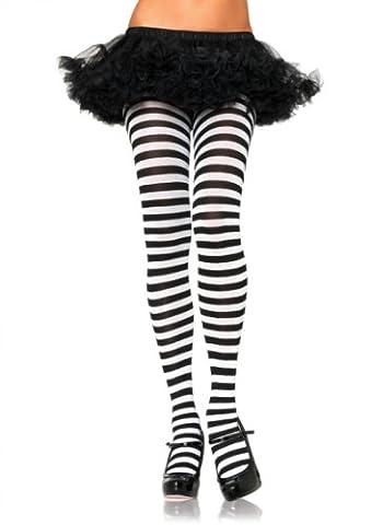 Karneval Fasching Damen plus size Strumpfhose quer geringelt schwarz weiss Leg Avenue Einheitsgröße ca. 42 bis 44