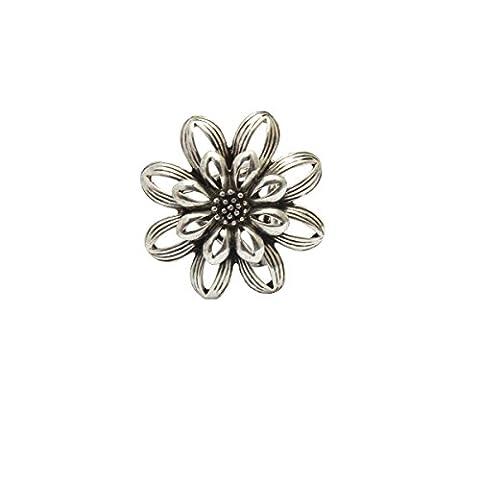 Fleur Rétro Femme Boucle Broche d'Echarpe Clips Anneaux de Mariage - Argent