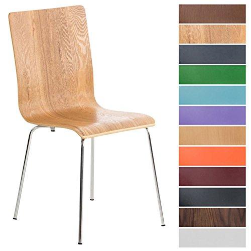 CLP Wartezimmerstuhl PEPE mit ergonomisch geformten Holzsitz und stabilem Metallgestell   Pflegeleichter Besucherstuhl mit einer Sitzhöhe von 45 cm   In verschiedenen Farben erhältlich Eiche