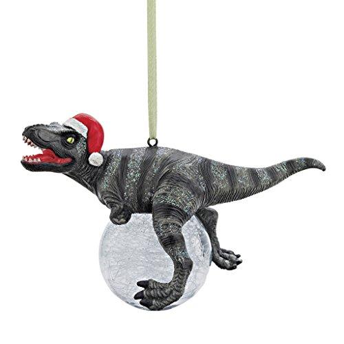 Design Toscano Dinosaurier-Figuren, Weihnachtsbaum Ornament, Blitzer die T Rex mit Sankt-Hut-Feiertags-Verzierung
