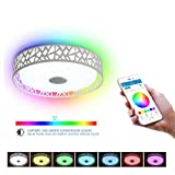ELINKUME LED Ceiling Light Dimmable with Bluetooth Speaker Multi Colour Change by Smartphone