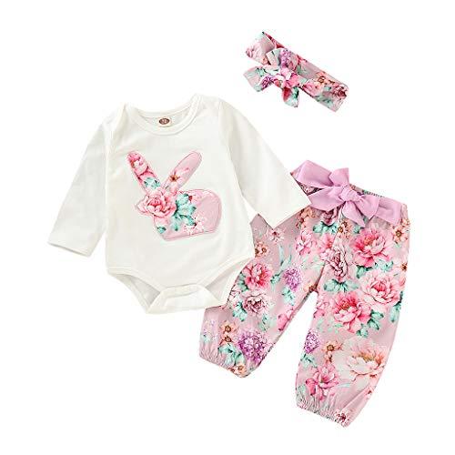 Babykleidung Mädchen patchen Baby-Langarm-Osterkleidung floral + Blumenhose + Haarbandanzug weiß 100