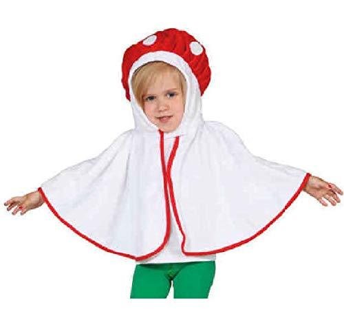 narrenkiste O5155-104 rot-weiß Kinder Mädchen Junge Pilz Cape Plüschkostüm Gr.104