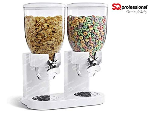 SQ Professional - Dispensador Doble para Cereales y Otros Alimentos, de plástico, Color Blanco