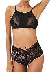 Moonuy Mujeres Daily Negro Floral encaje sólido cabestro empujar Bra + High-Rise Pantalones conjunto de ropa interior (Negro, L)