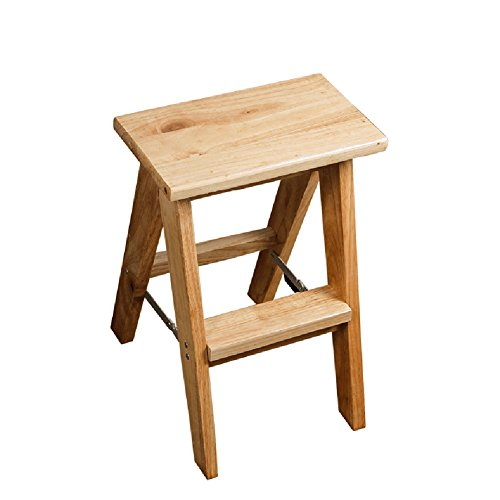 XF@ Klappstühle Massivholz Klapptritthocker Küchenhocker Portable Holz Farbe Klein 45cm, Groß 62cm, Thicken Bench (Größe : Small)