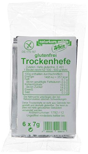 Werz Trockenhefe glutenfrei 6 Beutel á 7gr., 3er Pack (3 x 42 g Beutel) -